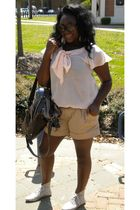 beige Target shorts - H&M blouse - Forever 21 shoes