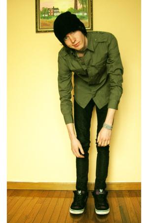 green DKNY shirt