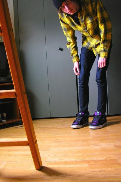 purple vox shoes - blue KC jeans - purple vurt t-shirt - gold volcom shirt - bla