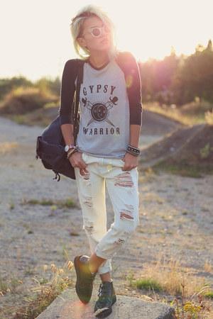 off white gypsy warrior jeans - silver raglan t-shirt gypsy warrior shirt