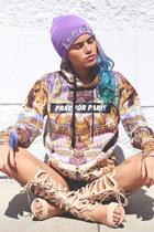 beige triwa sunglasses - light purple gem beanie IWEARTHEHEADRESS hat