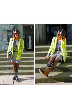black doc martens boots - heather gray H&amp;M dress - chartreuse H&amp;M blazer