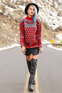 Black-nasty-gal-dress-red-graphic-vintage-sweater