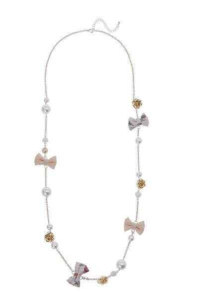 beige assorted charm necklace