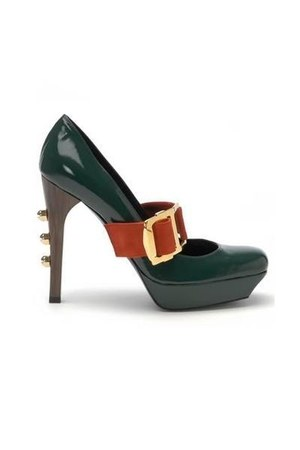 forest green Nut Runway Mary Jane Pumps shoes