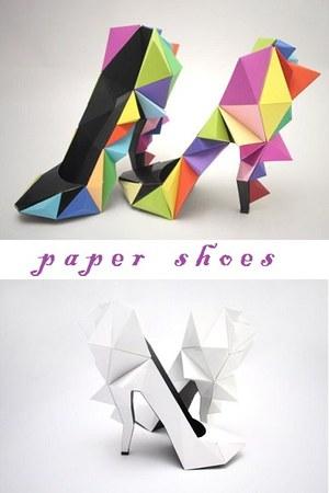 geometric paper heels