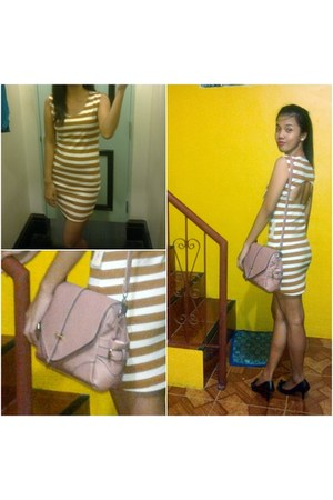 stripes cotton Forever 21 dress - peach sling bag belladona bag