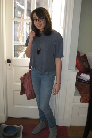 gray banana republic shirt - blue delias jeans - gray Urban Outfitters boots - r