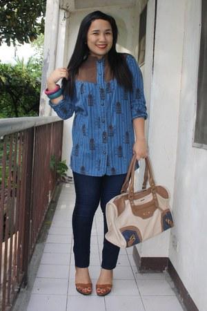 flea market blouse - m & co jeans - sophie martin bag - janilyn heels