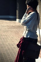 crimson H&M scarf - brown satchel BLANCO bag - white oversized Primark t-shirt -