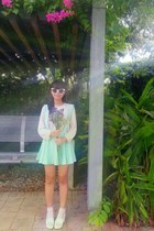 light pink H&M sweater - light pink H&M socks - white flower diva sunglasses