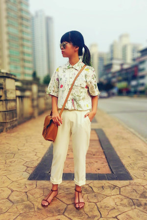 cream loose fit Zara pants - lime green H&M shirt - tawny Forever 21 bag