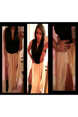 gold Cartier bracelet - nude handmade skirt - black chiffon unknown top