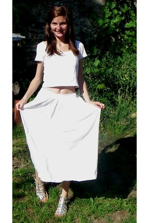 white Kiabi top - white vintage skirt