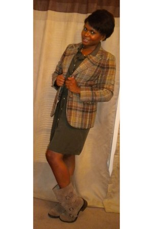 brown Mia boots - army green Old Navy dress - brown thrifted blazer