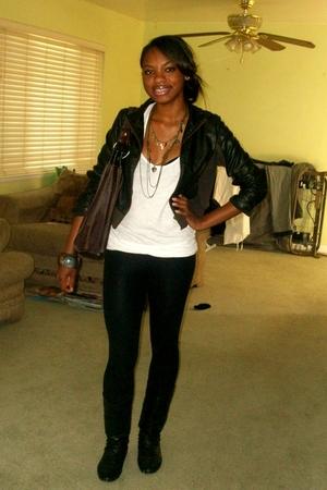 jacket - shirt - leggings - boots - purse - necklace
