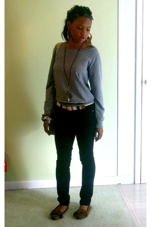 silver Forever 21 sweater - black Wet Seal jeans - brown Rue 21 shoes - gold Wet
