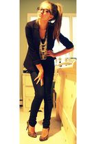 blue Charlotte Russe jeans - black H&M blazer - black Forever 21 t-shirt - silve