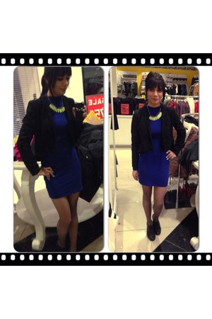 blue Forever 21 dress - lime green Forever 21 accessories
