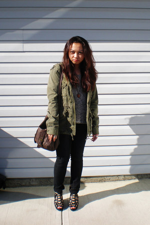 black jeans - army green TNA jacket - dark brown Steve Madden bag - black Deena