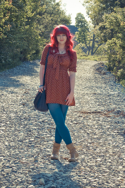 burnt sienna modcloth dress - Wet Seal boots - Old Navy tights