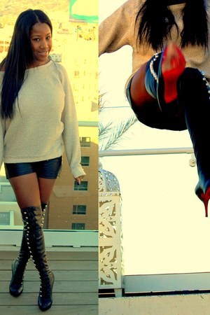 black military Christian Louboutin boots - beige Zara sweater - black leather Bl