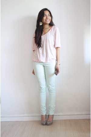 light pink Forever21 blouse - aquamarine pants