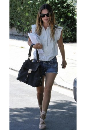 black purse - navy jean shorts - black ray ban sunglasses - nude heels - white b