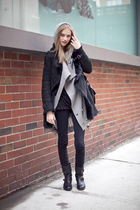 gray sweater - black jacket - black boots