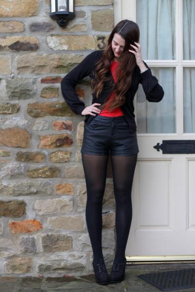 black Matalan shorts - red Primark t-shirt - black new look cardigan