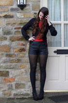 black Matalan shorts - red Primark t-shirt - black new look cardigan
