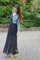 chartreuse H&M heels - blue denim Matalan jacket