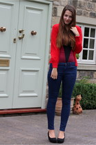 navy Topshop jeans - maroon Vedette bodysuit - red new look cardigan