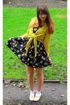 black floral print new look dress - white ankle socks Topshop socks - mustard ti