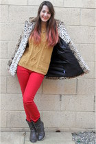red Pimkie jeans - dark brown Primark boots - camel Motel Rocks coat