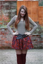 brick red Primark skirt - crimson asos socks - heather gray charity shop H&M top