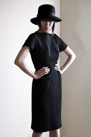 black vintage dress - black untitled hat - tan asos socks - tan Marni sandals