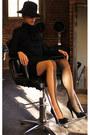 Black-bilali-dress-black-vintage-hat-nude-wolford-stockings