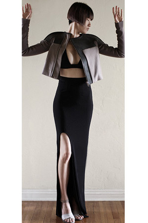 black bec &amp; bridge skirt - gray Rick Owens jacket