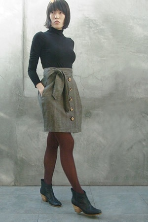 vince top - Dallin Chase skirt - Wolford tights - Rachel Comey boots
