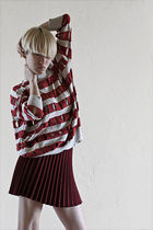 red Alexander Wang sweater - red Theory skirt - gray t by alexander wang bra - b