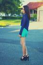 Aquamarine-lace-forever-21-shorts-navy-sheer-mesh-american-apparel-blouse