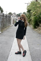 creepers shoes - American Apparel dress - vintage round sunglasses