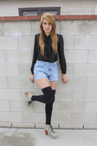 denim Levis shorts - black over the knee American Apparel socks