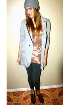 light brown H&M dress - heather gray Vans hat - periwinkle She Said blazer