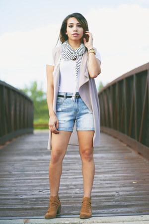 chiffon Nordstrom vest - suede Jessica Simpson boots - cotton Nordstrom BP scarf