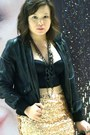 Light-pink-sequined-forever-21-skirt-black-leather-jacket-black-corset-top