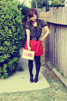 red Forever 21 skirt - black Forever 21 blouse - black Forever 21 top - gold For