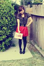 red Forever 21 skirt - black Forever 21 blouse - black Forever 21 top - gold For