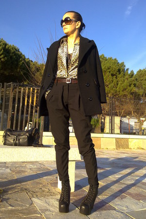 black Jeffrey Campbell shoes - black DIY coat - black Zara bag - brown MNG blous